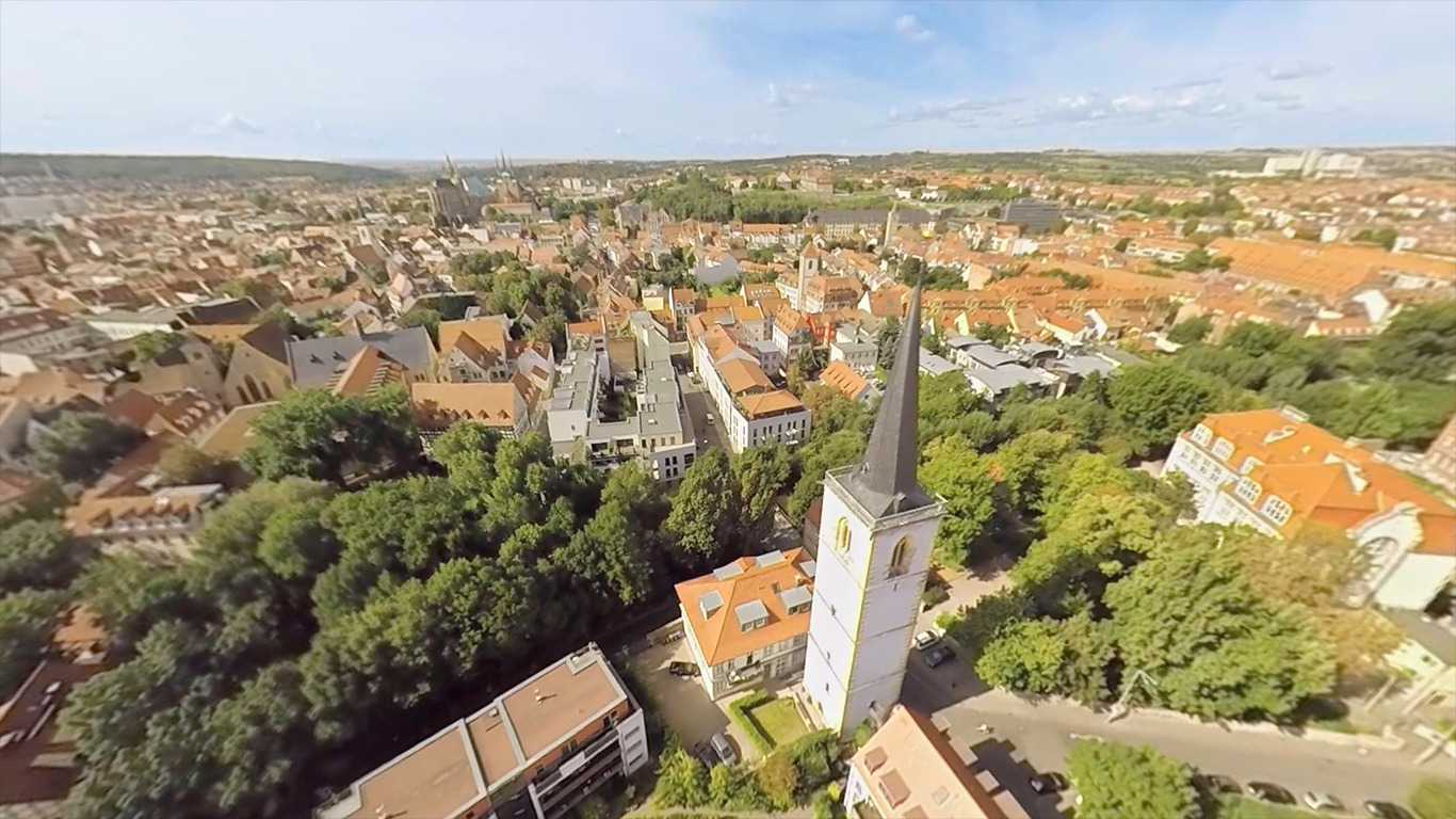 VR Helicopter Flight Erfurt - Old Town in Germany