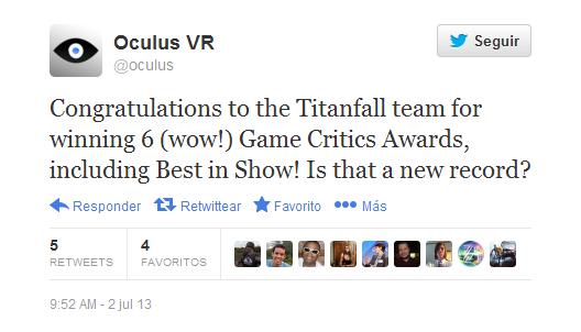 tweet de Oculus felicitando al equipo de Titanfall