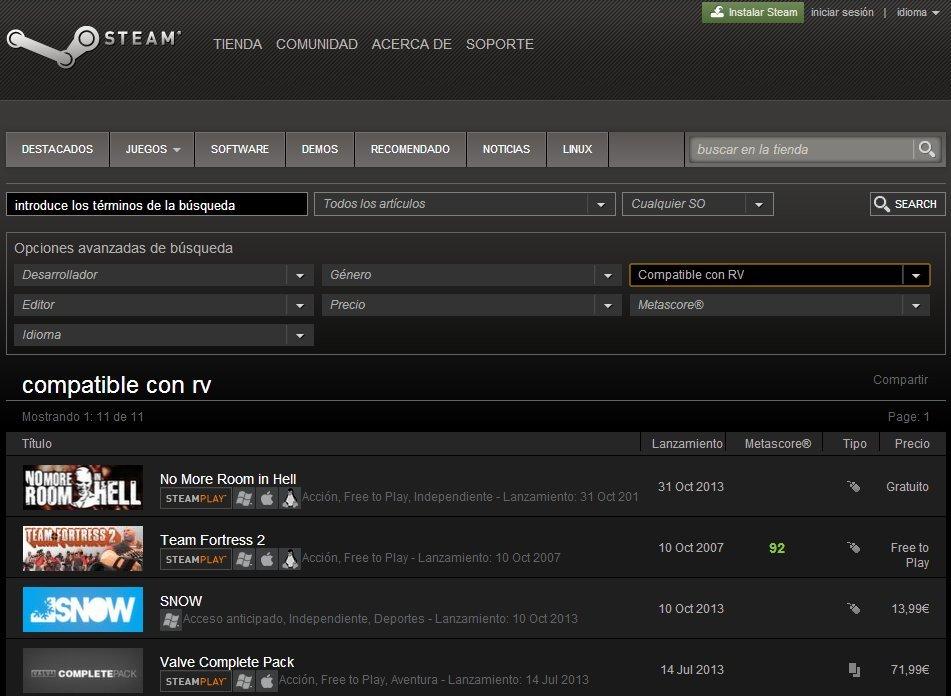 Resultados de búsqueda de Steam en RV
