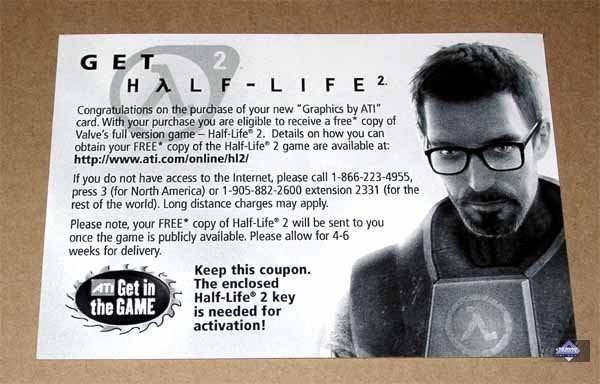 Cupón de Half-Life 2 con tarjetas ATI