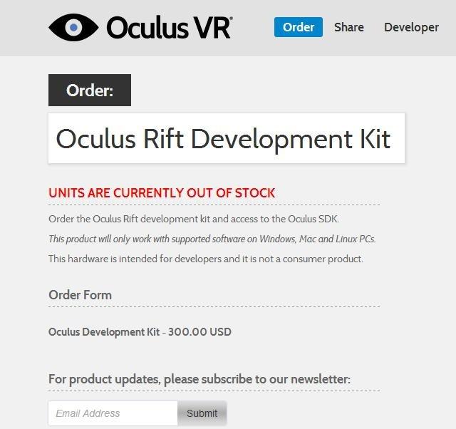 Página de compra del Oculus rift