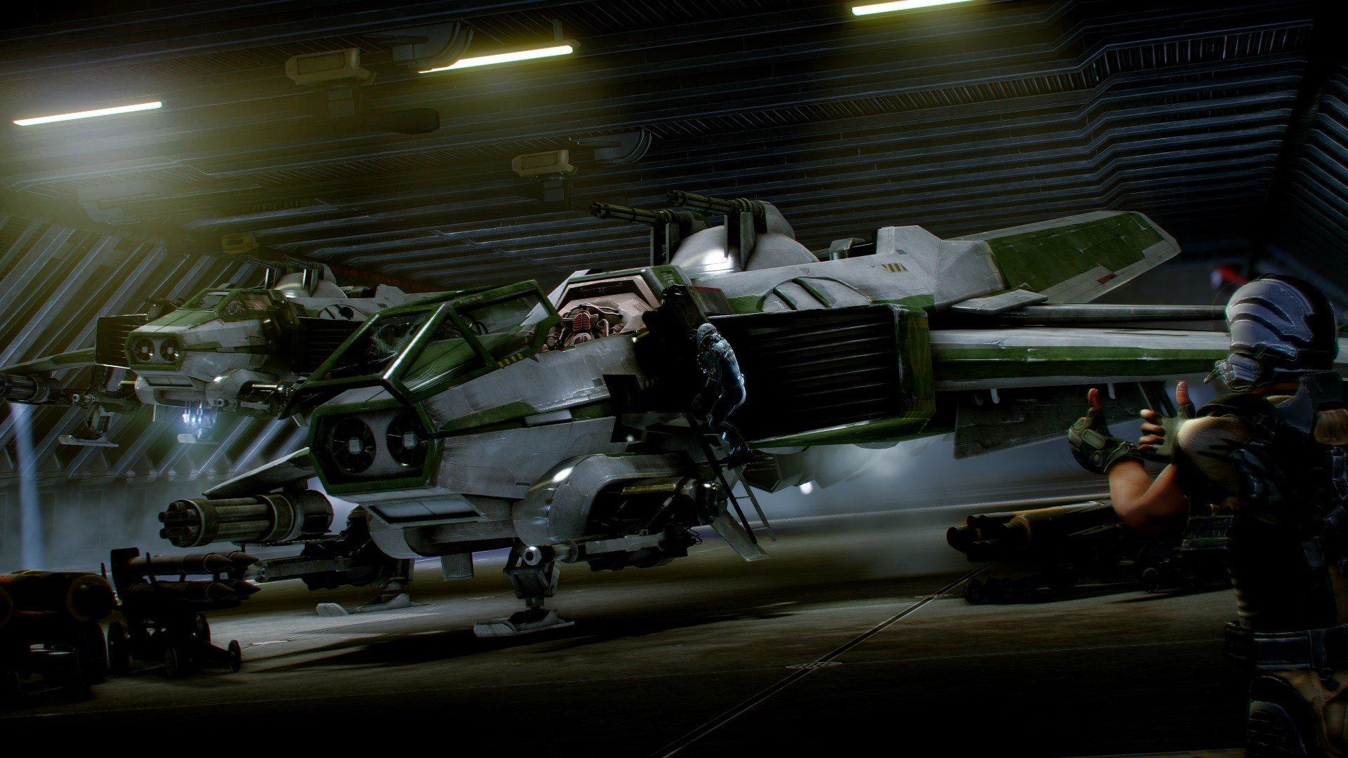Anvil Hornet en el hangar